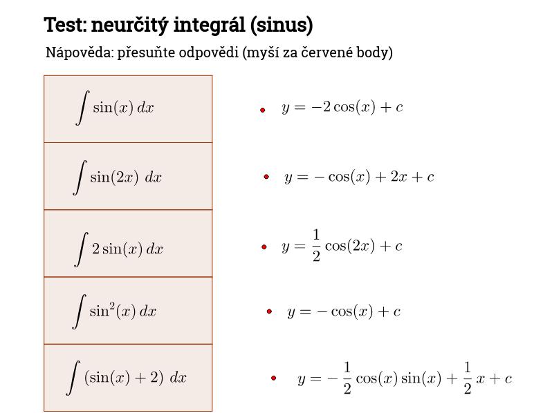 Test: neurčitý integrál (sinus)
