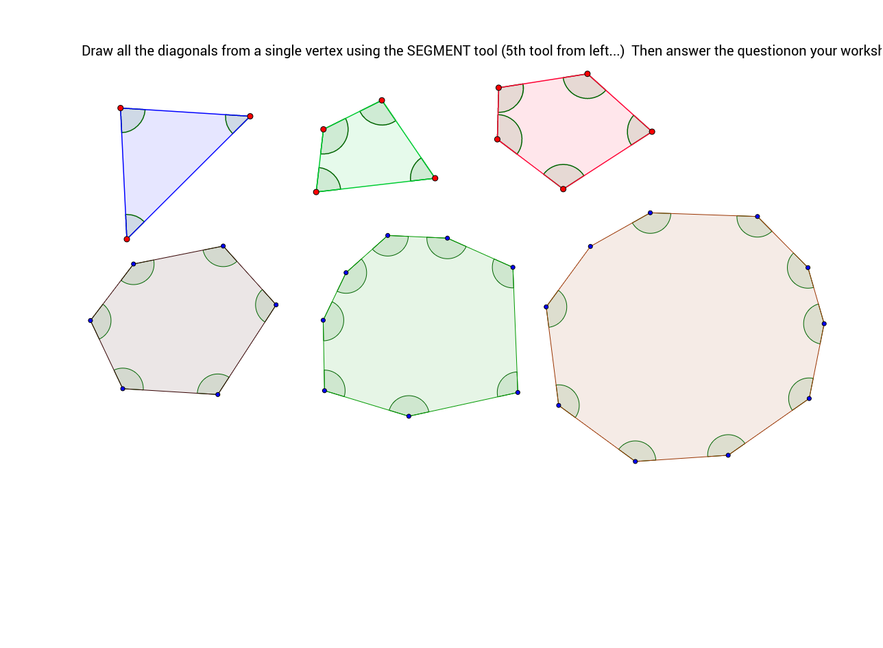 worksheet Sum Of Angles In A Polygon Worksheet polygon angle sum no measures wdiagonals geogebra interior part 2 follow directions on worksheet applet
