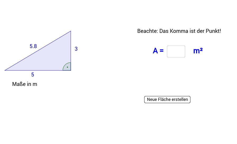 Flächeninhalt des rechtwinkligen Dreiecks 3
