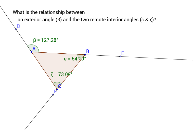 Exterior Angle of a Triangle GeoGebra – Exterior Angle Worksheet