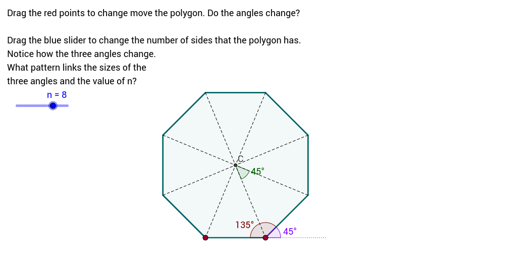Interior And Exterior Angles In Regular Polygons Geogebra