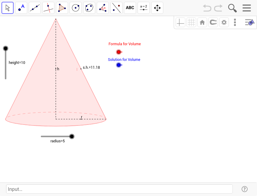 Right Circular Cone Geogebra