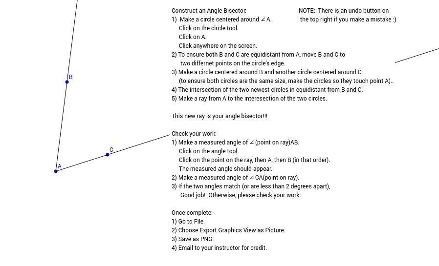 Constructing an Angle Bisector with Instructions