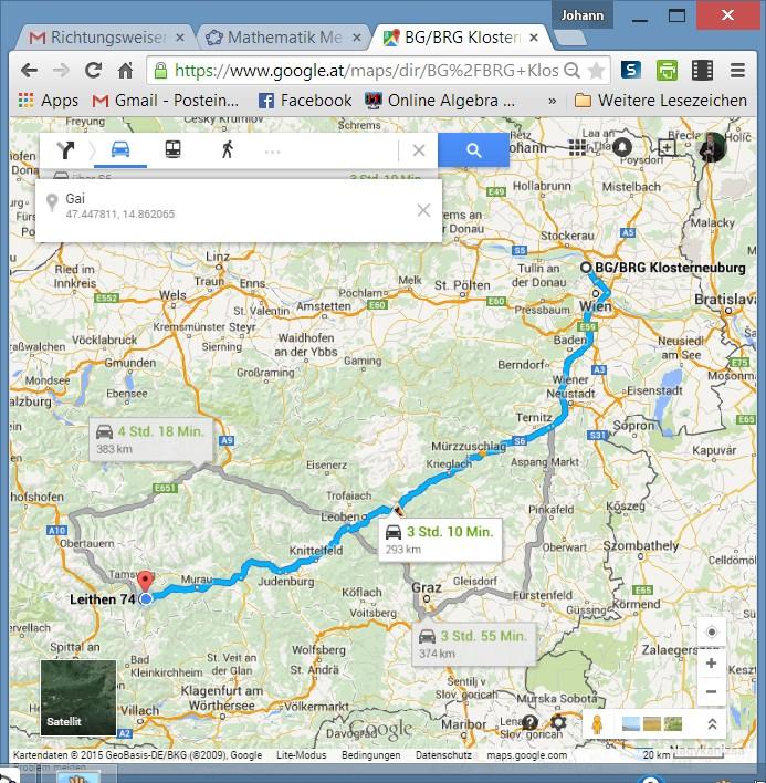 Distanz der Orte