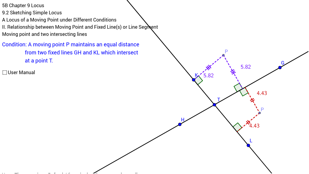 Locus of a moving point and two fixed intersecting lines GeoGebra – Locus Worksheet