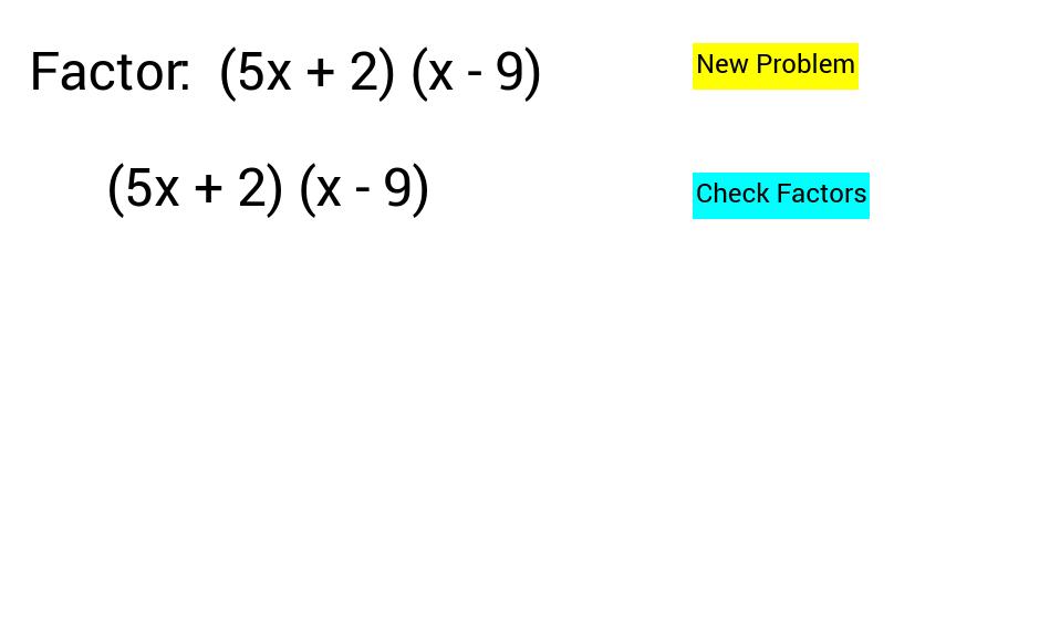 Factorisation work sheet