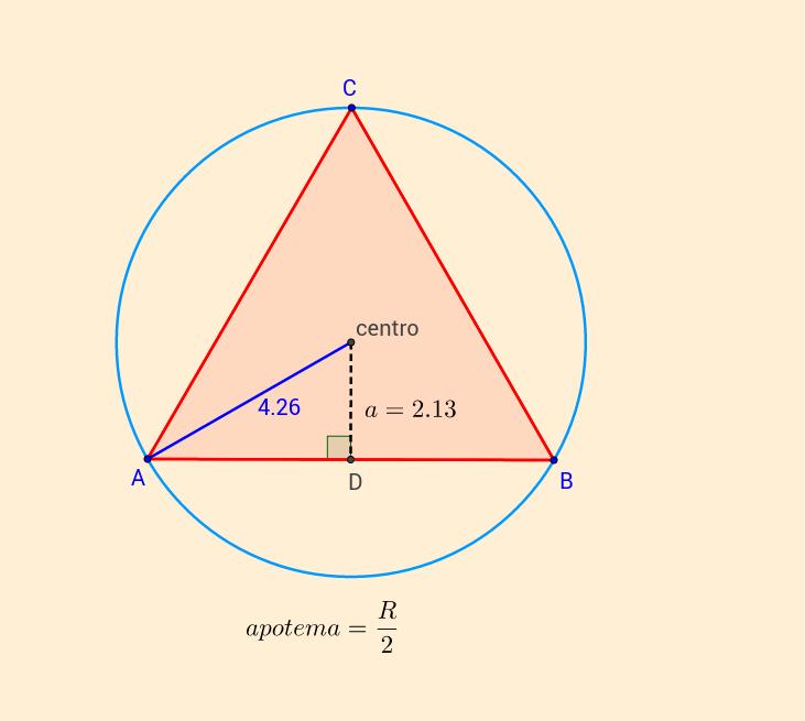 Apotema en triangulo equilatero