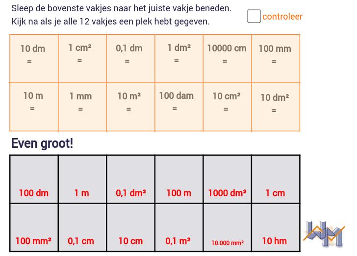 Wageningse Methode H4 Metrieke stelsel: lengte en opp.
