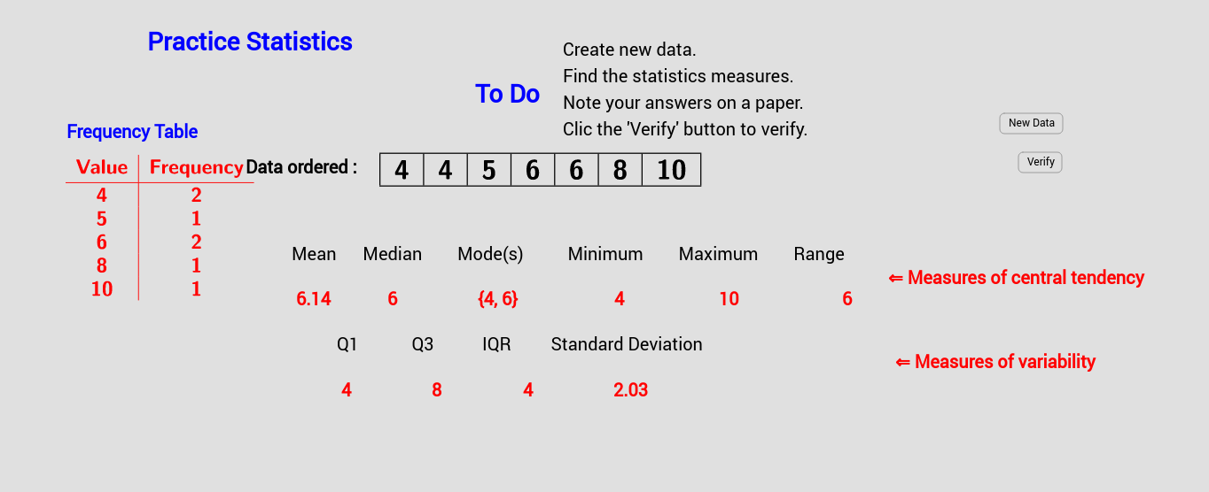 Practicing Statistical Calculation