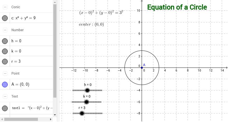 equation of a circle geogebrabook. Black Bedroom Furniture Sets. Home Design Ideas