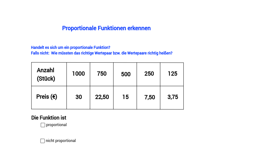 Proportionale Funktionen erkennen, Teil 6
