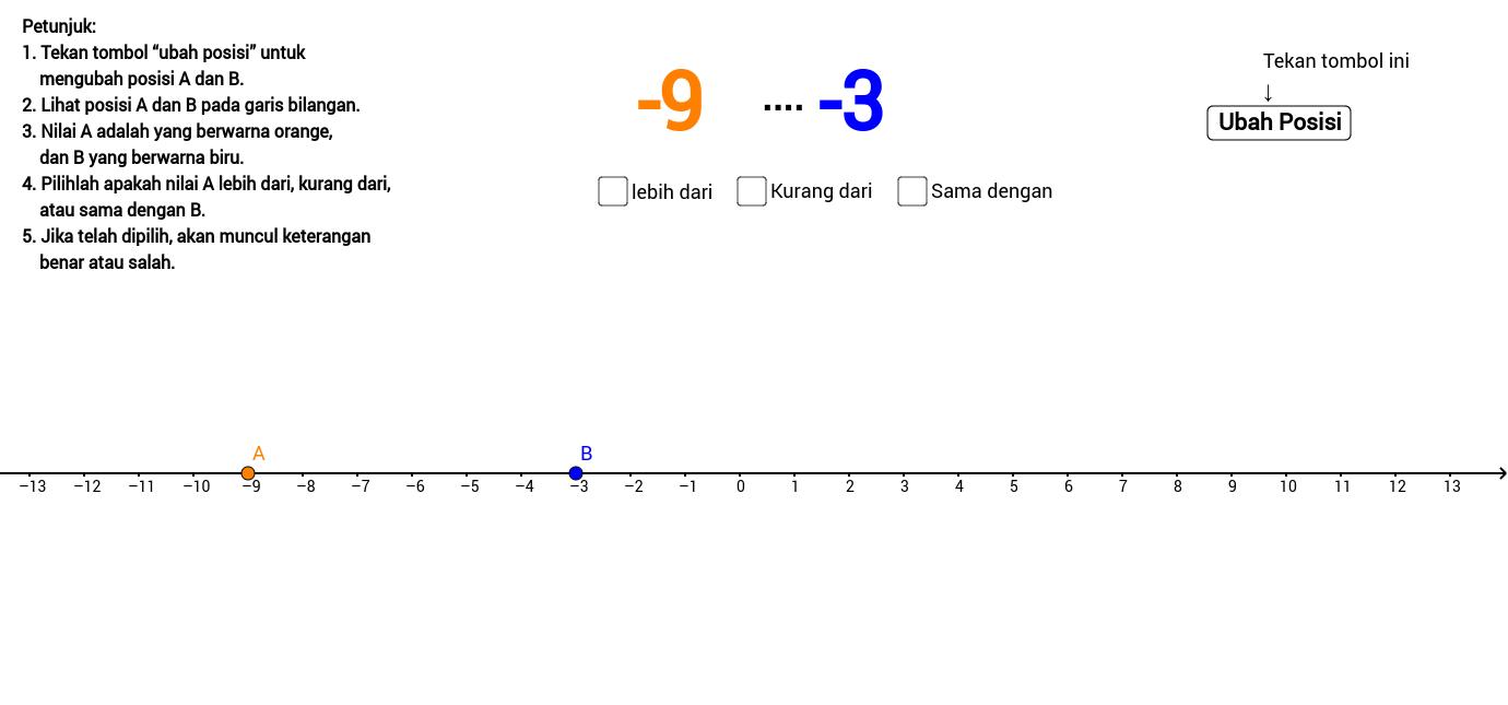 Hubungan dua bilangan bulat pada garis bilangan geogebra ccuart Images
