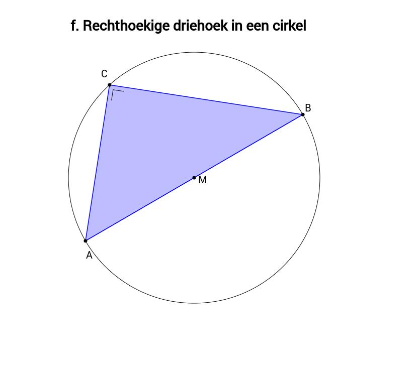 Rechthoekige driehoek in een cirkel