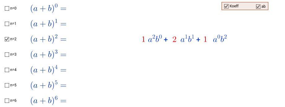 Binomischer Lehrsatz - Pascalsches Dreieck