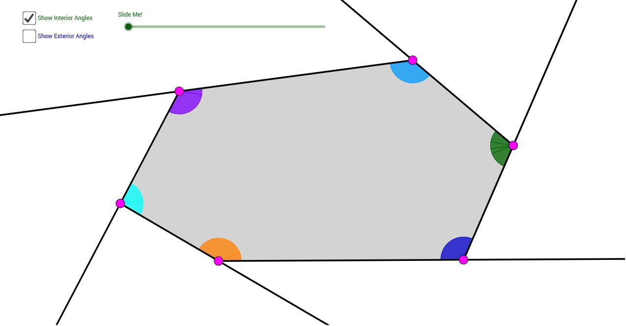 Hexagon interior exterior angle sum theorems geogebra for Sum of exterior angles of a heptagon