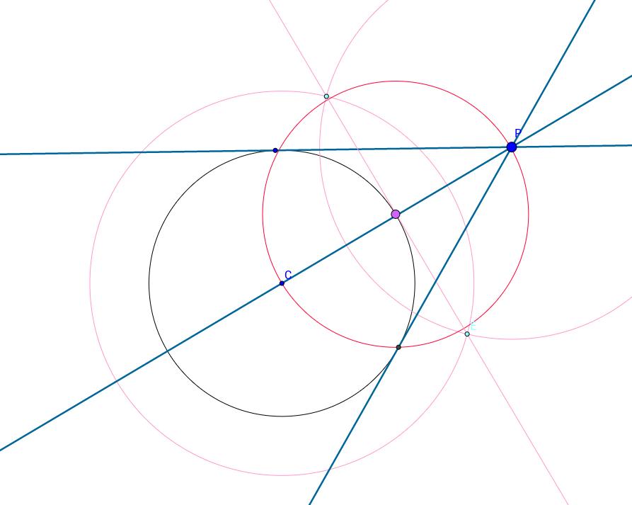 Recta tangente a un círculo desde un punto P fuera del círcu