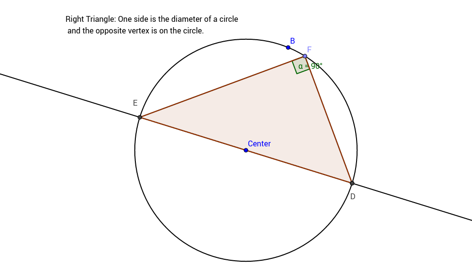 Right Triangle Diameter & Vertex Point On Circle