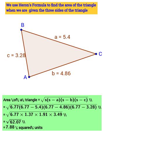 Area of a Triangle (Heron's Formula)