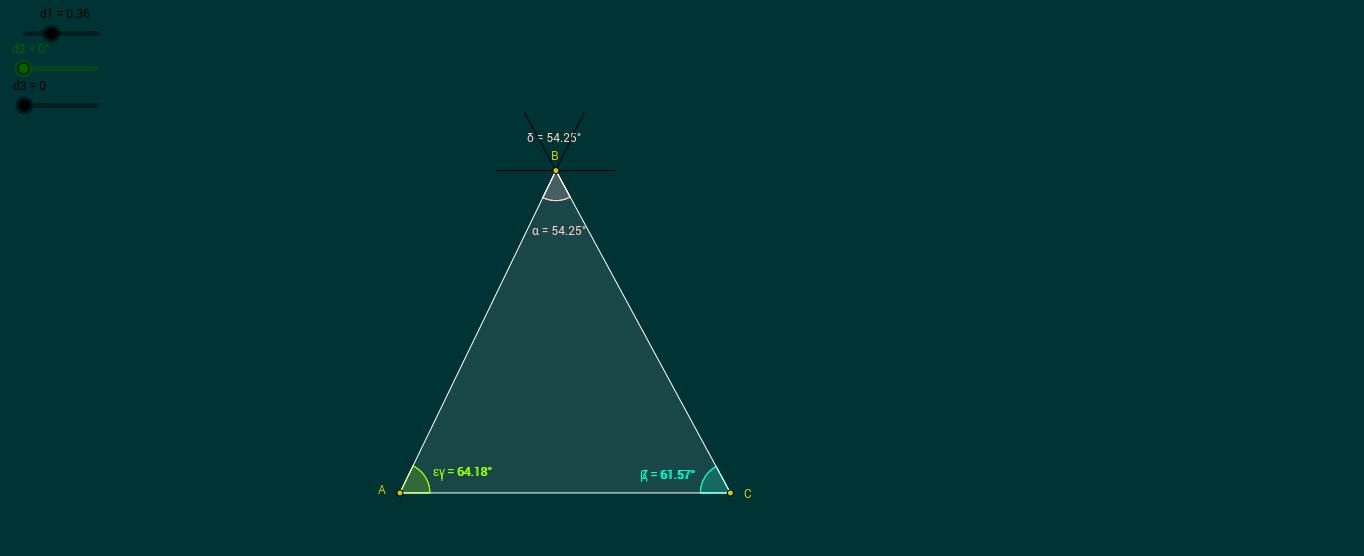 Suma de los ángulos internos de un triángulo.