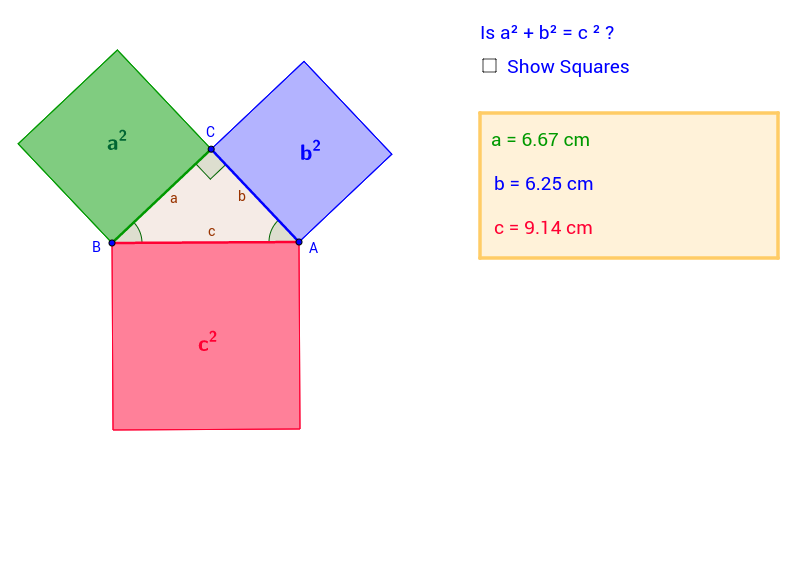 The Pythagoras' theorem - numerical examples.