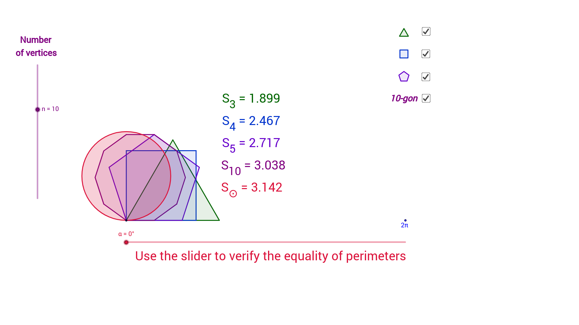 worksheet Area And Perimeter Of Polygons Worksheet area of isoperimetric figures geogebra which figure is the largest amongst those having a given perimeter one polygons why