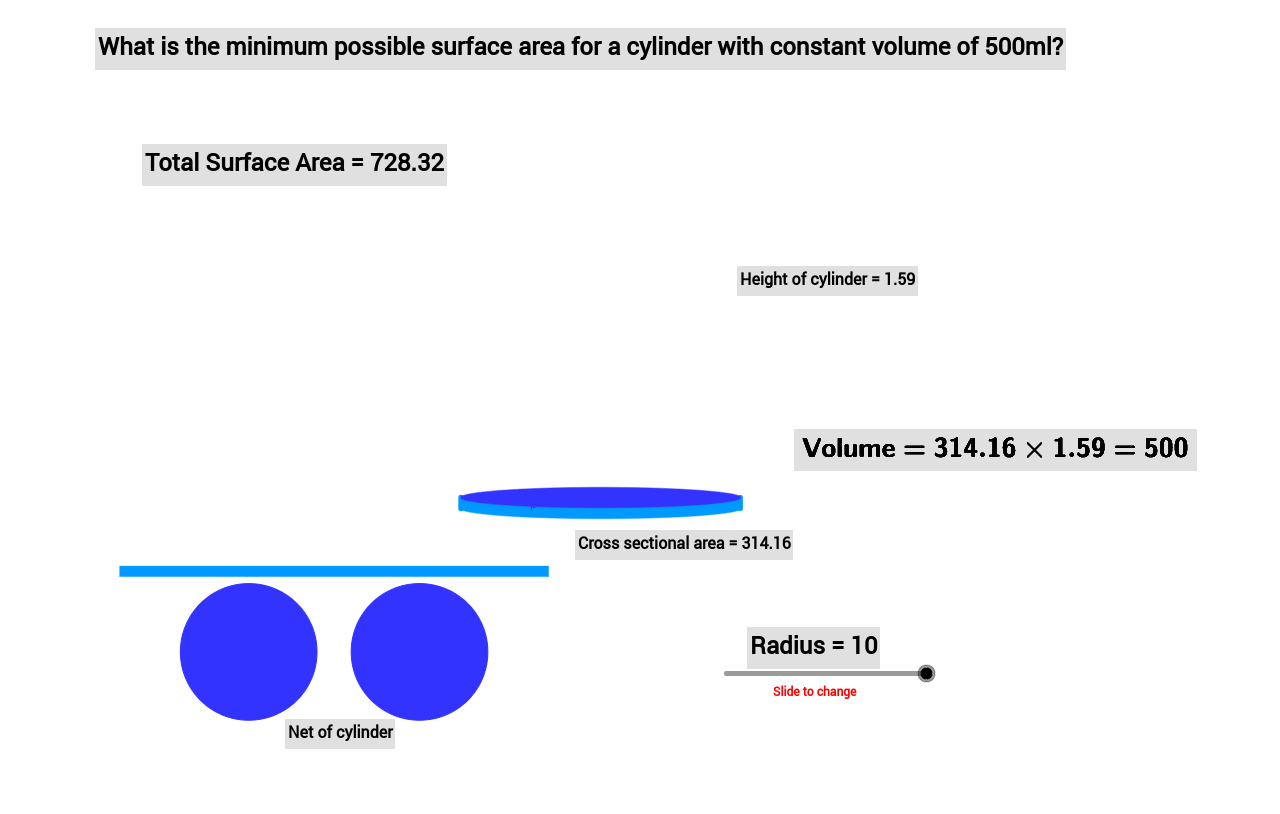 Differentiation cylinder optimisation problems geogebra 1 use the slider to find the minimum surface area of the cylinder what are the dimensions of this cylinder 2 use calculus to find the minimum ccuart Choice Image