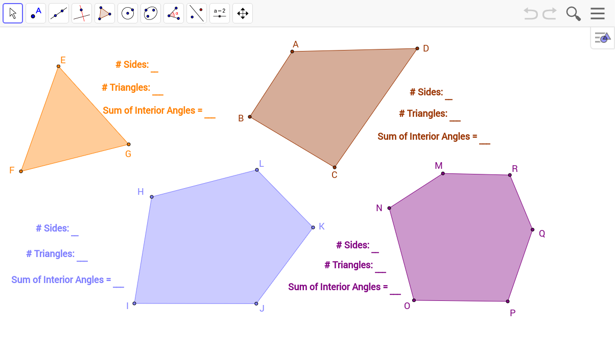 Sum of Interior Angles of a Polygon GeoGebra