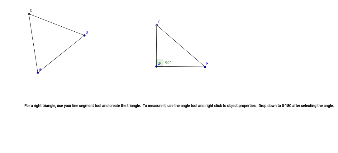 How to make a right triangle using GeoGebra