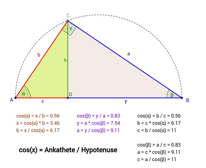 Kosinus im rechtwinkeligen Dreieck
