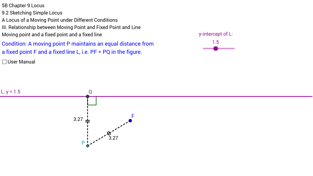 Locus of a moving point a fixed point and a fixed line GeoGebra – Locus Worksheet