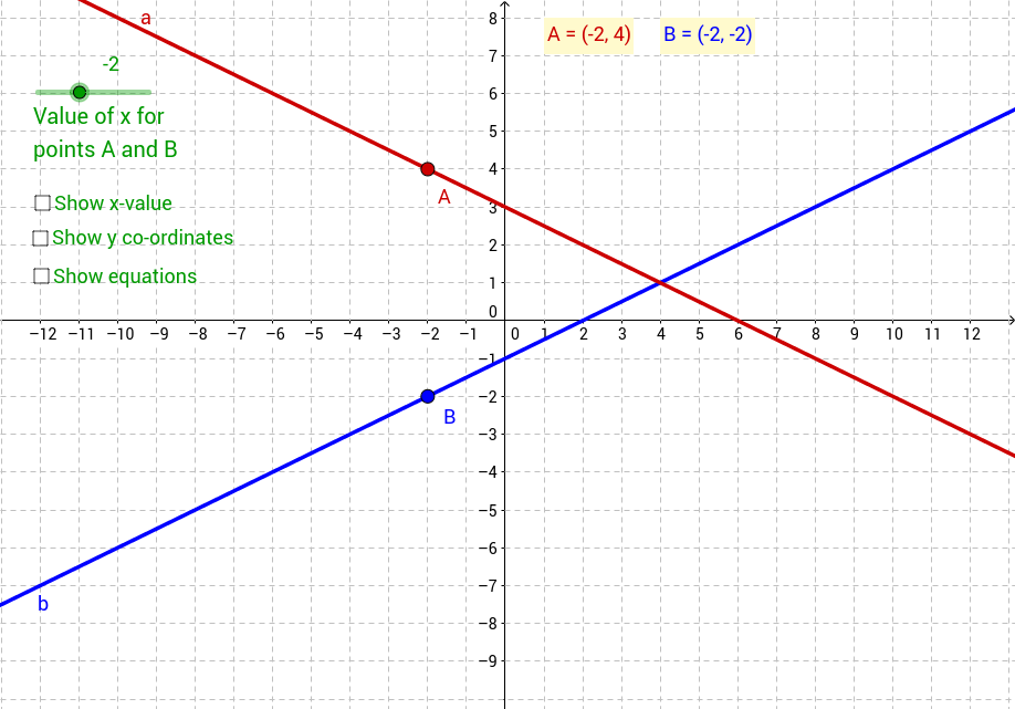 Points on two lines - simultaneous equations