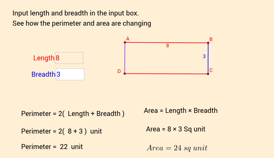 Area and Perimeter of a Rectangle digital worksheet