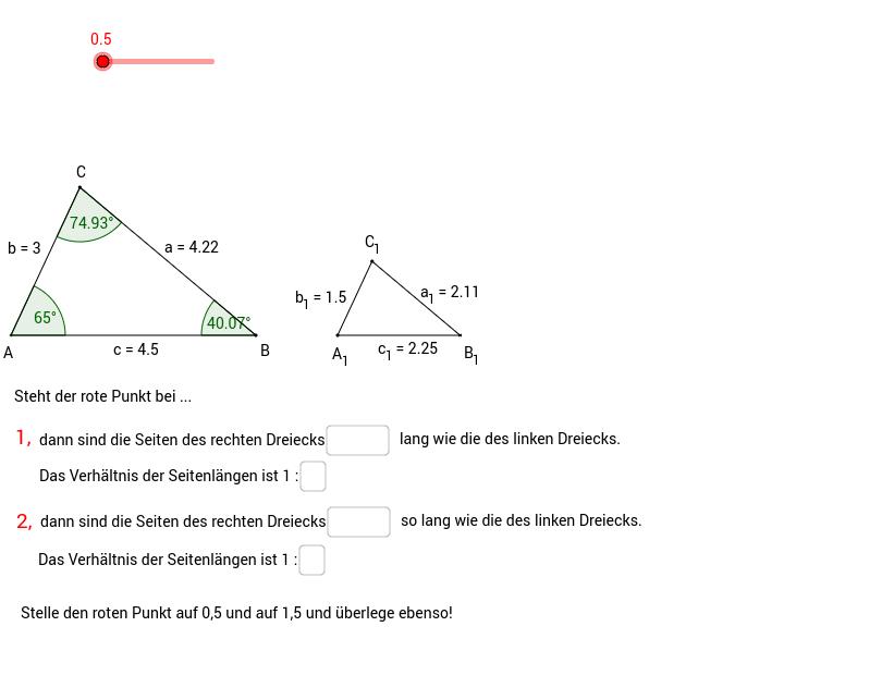 Dreiecke sind ähnlich, wenn ...