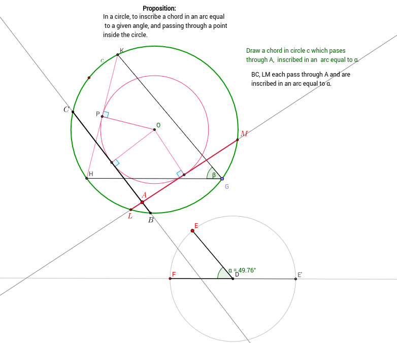 Inscribe a chord in a given arc of a circle
