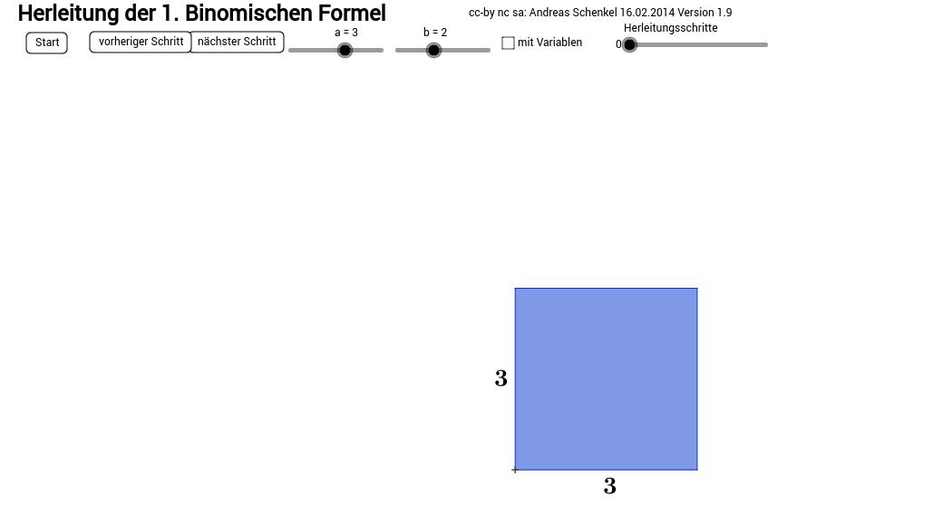 1. Binomische Formel (mit Zahlen oder Variablen) V1.9