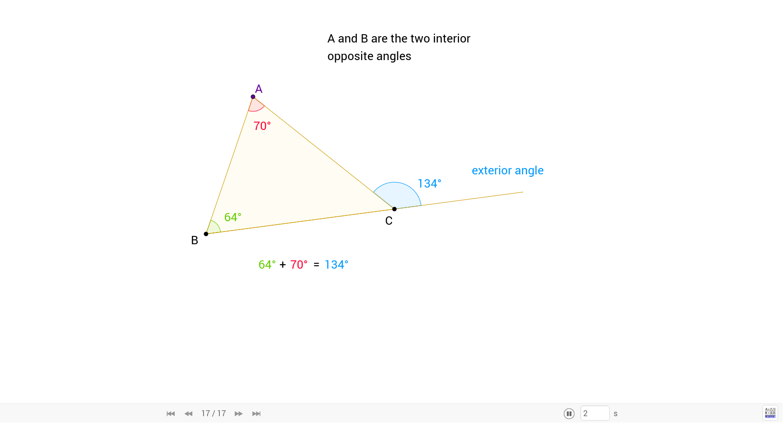 Theorem 06 The Exterior Angle of a Triangle GeoGebra – Exterior Angles of a Triangle Worksheet