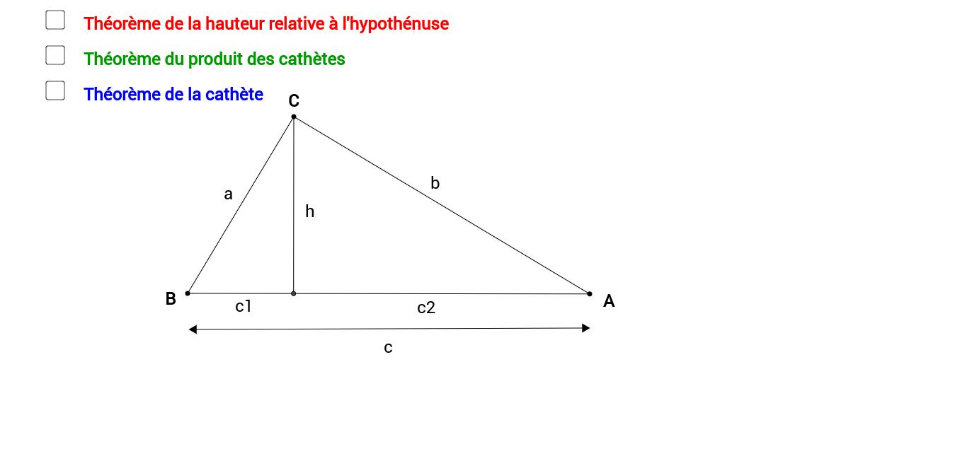 Les relations métriques dans le triangle rectangle
