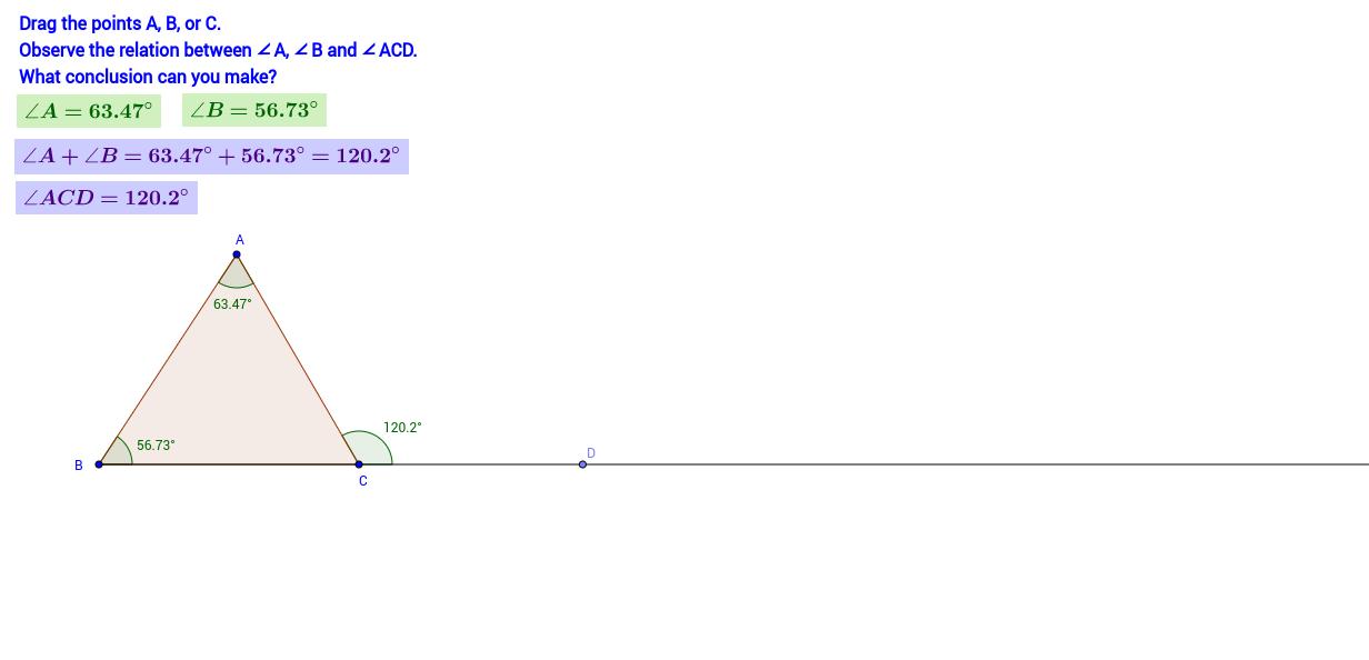 Congruent triangle geogebra for Exterior angles of a triangle calculator