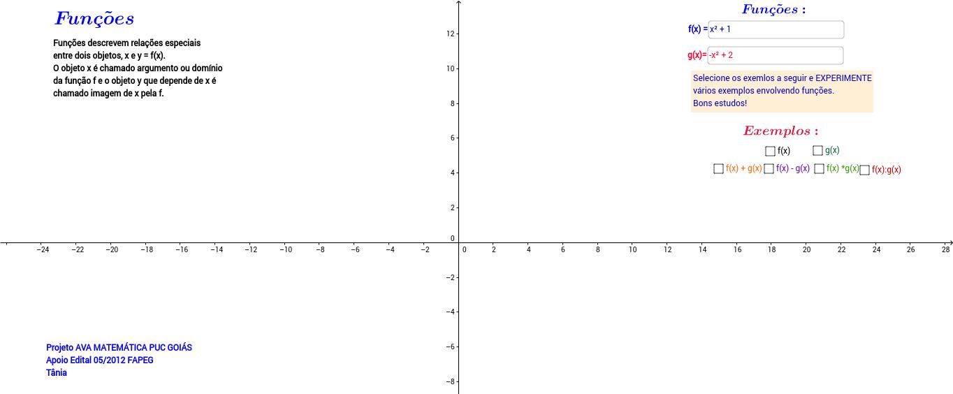 Operações básicas com funções matemáticas