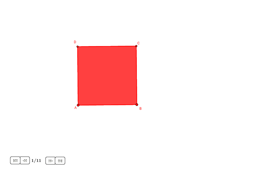 Cuadrado y cuatro triángulos rectángulos en un cuadrado
