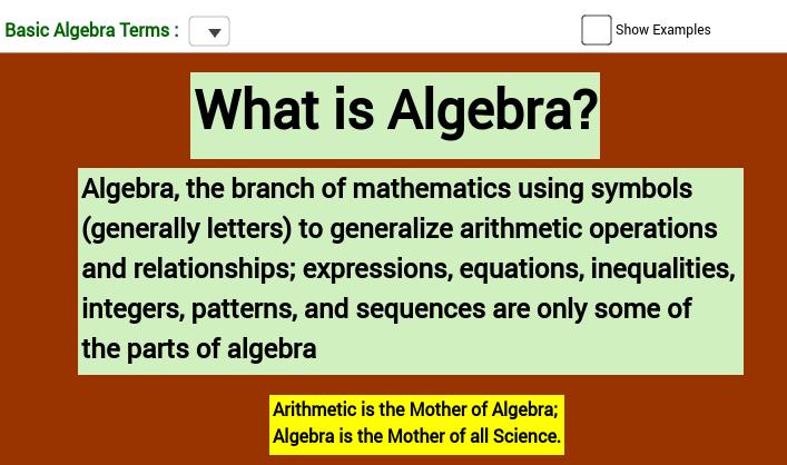 Basic Algebra Terms