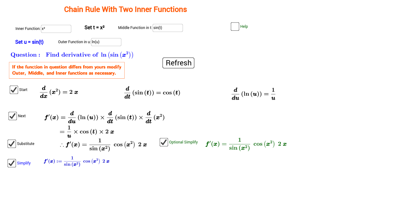 Worksheets Chain Rule Worksheet chain rule with two inner functions composition of three fu geogebra