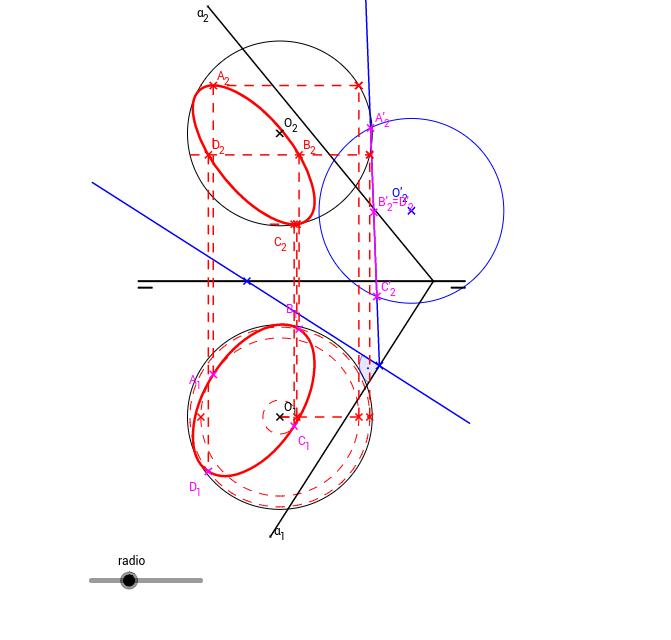 DT2.Diedrico. Esfera. Sección por plano oblicuo.