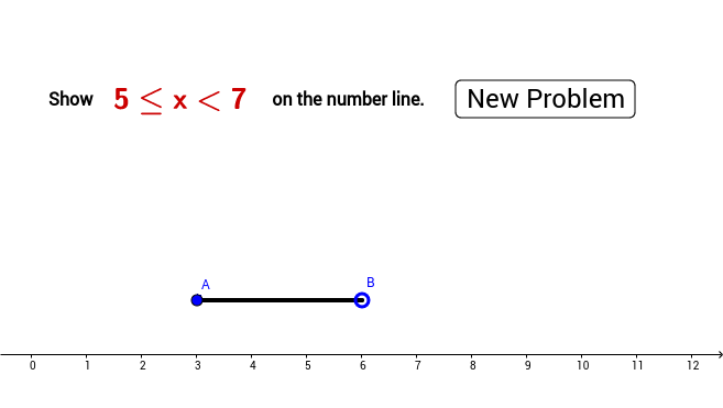 Number line interval { a ≤ x < b}