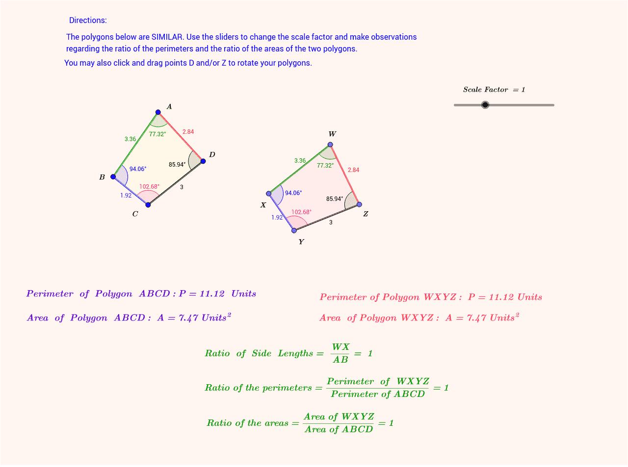 Perimeters And Areas Of Similar Polygons GeoGebra Material ZXZKbRgZ ZXZKbRgZ