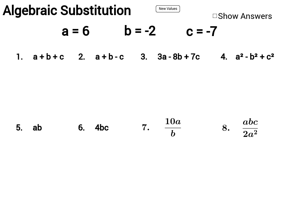 Practice on algebraic substitution with answers