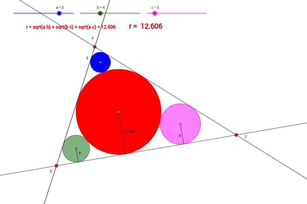 4 cercles dans un triangle.