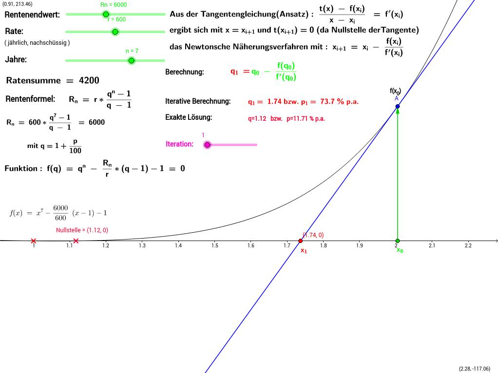 Newtonverfahren zur Renditeberechnung periodischer Zahlungen
