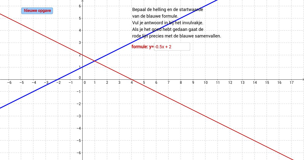 Lineaire formules. Bepaal de formule. Oefening