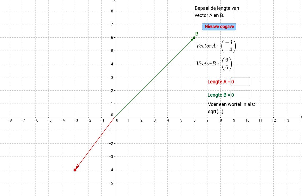 Lengte van een vector. Invulvak